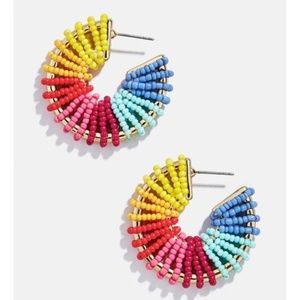 Rainbow Gold Post Large Drop Statement Earrings